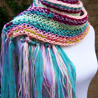 Sari Chiffon Knit Scarf Multlicolored Pastel Shades Ribbon Accents Extra Long Fringy Style