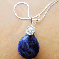 Sodalite Teardrop Handcrafted Silver Wire Wrapped Native Inspired Spiral Pendant Necklace