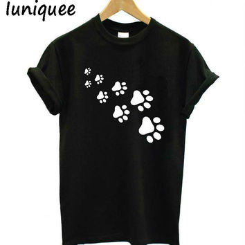 cat paws print Women tshirt Cotton Casual Funny t shirt For Lady Top Tee Hipster black white cat cartoon t shirt women