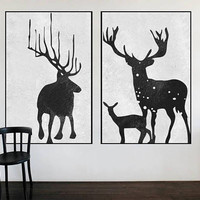 Black and White original Abstract deer painting large art abstract tree canvas extra Large wall art Set of 2 pieces art canvas home decor