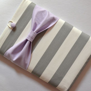 Macbook Pro 15 / Laptop Case , Laptop Sleeve - Grey and White Stripe with Lavender Bow