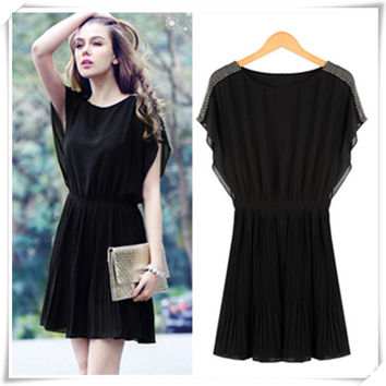 Plus Size Women's Fashion Slim Corset Round-neck Pleated Short Sleeve Chiffon One Piece Dress [6343395585]