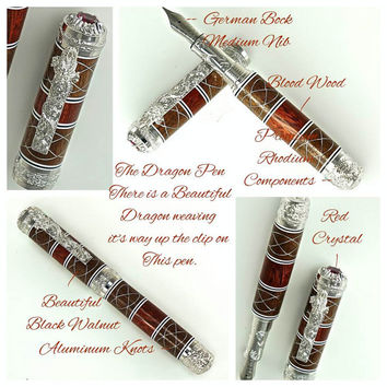Custom Wooden Pen Fountain Beautiful Bloodwood Walnut Segments and Aluminum Knots White and Black Rings Rhodium Dragon Hardware 737FPXLXLA