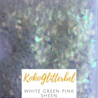 Mermaid Scales- White Green Pink Sheen