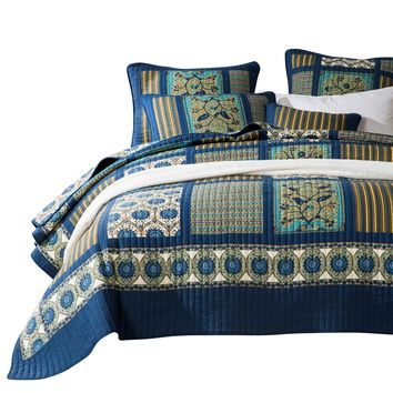 Tache 2-3 Piece Elegant Striped Forest Patchwork Quilted Coverlet Vibrant Multi Color (JHW-679)