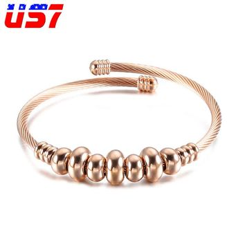 US7 Stainless Steel Rock Wire Line WristBand Beads Cross Bracelets Punk Hip Hop Adjustable Bangles For Men Women Jewelry Gift