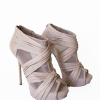 "SALE L.A.M.B. - ""Crepe"" Rose Stiletto Bootie, by L.A.M.B - Beige on Taigan"