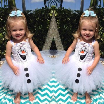 Cartoon Snowman Frozen Olaf Costume Kids Girls Baby Tulle Gown Tutu Dresses