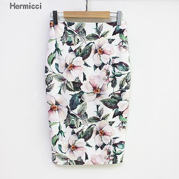 Summer Style Pencil Skirt Women High Waist Green Skirts Vintage Elegant Bodycon Floral Print Midi Skirt