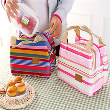 2016 Insulated Cold Canvas Stripe Picnic Totes Carry Case Hot Sale Thermal Portable Lunch Bag Free Shipping S376