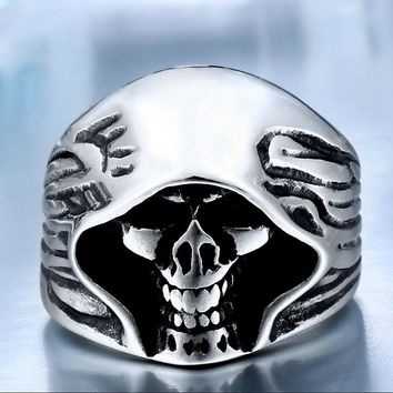 Cool Hell Death Skull Man Fade Punk Biker High Quality Ring