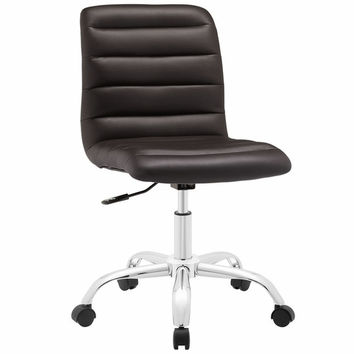 Ripple Armless Mid Back Office Chair Brown
