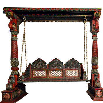 Carved Elephant & Peacock Multicolor Wooden Carved Royal Swing Set / Indoor Jhula
