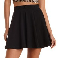 Black High-Waisted Cotton Skater Skirt by Charlotte Russe