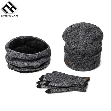Fashion 3 Pieces Set Women Winter Hat And Gloves Sets Cotton Unisex Hat Scarf Gloves Set Solid Hat And Scarf Set For Men Women