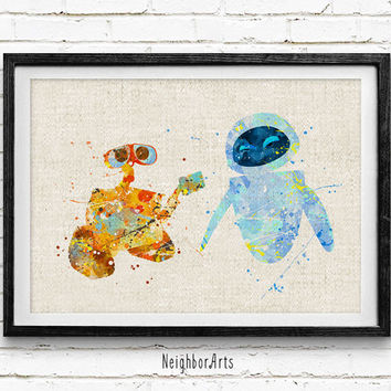 Wall-E Watercolor Art Print, Disnrey Cartoon Watercolor Poster, Boys Room Wall Art, Home Decor, Not Framed, Buy 2 Get 1 Free