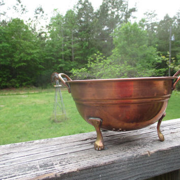 Vintage Copper Standing Colander--Kitchen Utencil--Copper and Brass--Country French Kitchen Strainer--Farmhouse Kitchenwre--Collander