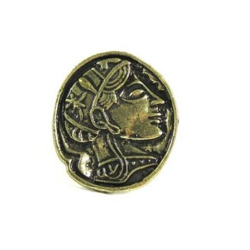 Roman Coin Ring Adjustable Gladiator Janus Greek Medal RE37 Gold Tone Grecian Fashion Jewelry