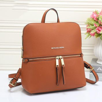 MK Michael Kors Trending Women Leather Zipper Bookbag Shoulder Bag Handbag Backpack(6-Color) Brown I-MYJSY-BB