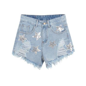 Hot Woman Denim Shorts Women's Fashion Star Sequins Tassel Ripped Holes Slim High Waist Short Jeans Punk Sexy Shorts