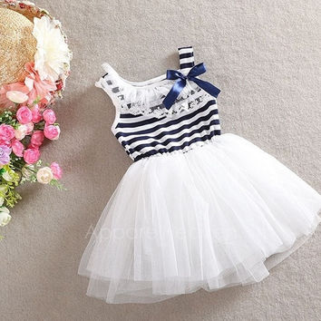 Girls Kids Stripe Net Yarn Bubble Dress ball gown dress lace + cotton material 3Colors 4Sizes AP = 1652910468