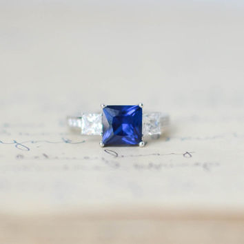 Sapphire Blue September Birthstone 3 Stone Princess Cut CZ Cubic Zirconia Sterling Silver Engagement Wedding Anniversary Ring