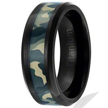8MM  Titanium Camo Ring Black Plated Wedding Band Green Military Camouflage Inlay
