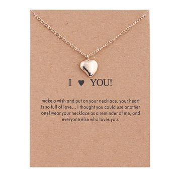 Golden Glossy Heart Card Alloy Clavicle Pendant Necklace  171208