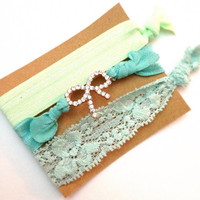 Set of Three Embellished Bling Pave Lace FOE Rhinestone Bow Mint Ombre Turquoise Sea Hair Ties Arm Candy Bling Glam EmiJay Inspired