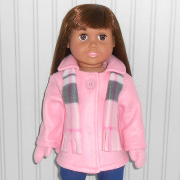 18 inch Doll Clothes Pink Coat Fleece Jacket with Mittens and Plaid Scarf American Doll Clothes