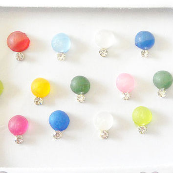 2 packs of Multicolored small size bindi,Nail art decoration,Ear stud,Party Colorful pearl bindi,Festival face jewels,Indian round bindis