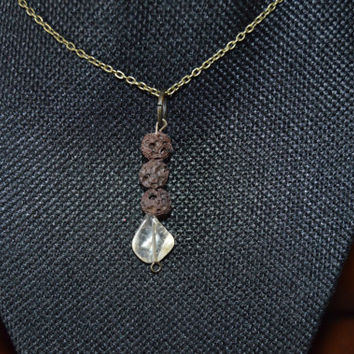 Citrine & Brown Lava Beads Aromatherapy/Essential Oil Diffuser Necklace