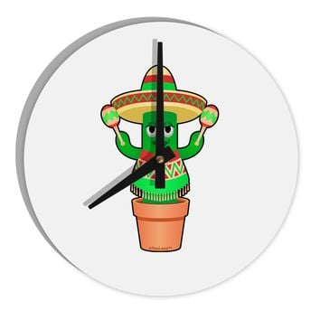 "Fiesta Cactus Poncho 8"" Round Wall Clock  by TooLoud"