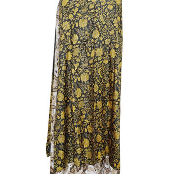 Beach Long Wrap Two Layer Reversible BLack/ Yellow Wraps Skirt Silk Sari