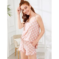Polka Dot Print Cami Top & Shorts PJ Set