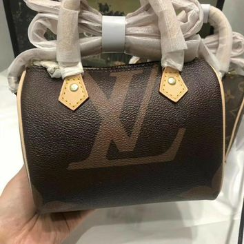 DCCK 1571 Louis Vuitton LV NANO Speedy Handbag 16-11-9cm Brown
