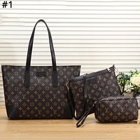 LV tide brand female color matching simple tote bag casual large-capacity shopping bag three-piece #1
