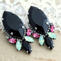 Black Mint Pink  Rhinestone Statement stud earrings - Oxidized Silver plating Swarovski earrings