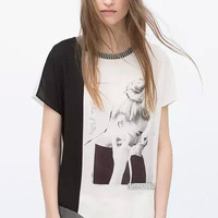 Black and White Color Block T-Shirt with Rhinestones