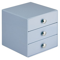InterDesign 3 Drawer Storage Organizer for Cosmetics, Makeup, Beauty Products and Office Supplies, Slate Blue