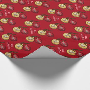 Bah Humbug Text Christmas Tree Ornament Cartoon Wrapping Paper