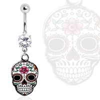 316L Surgical Steel Gemmed Navel Ring with White Sugar Skull Dangle