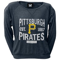 Pittsburgh Pirates - Distressed Logo Juniors Wide-Neck Long Sleeve T-Shirt