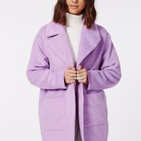Missguided - Lena Oversize Cocoon Coat Lilac