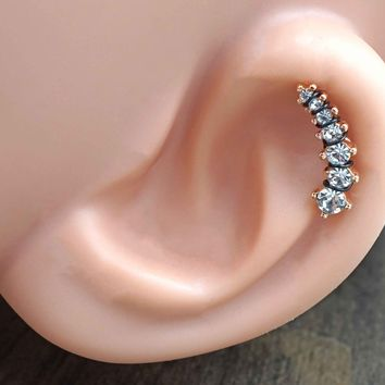 Clear Crystal Ear Climber Rose Gold Daith Rook Cartilage Hoop