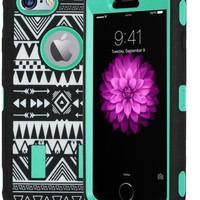 Kuteck® iPhone 6 Case - Tribal Hybrid Dual Layer Armor Defender Full Body Protective PC Box Case Cover for iPhone 6 4.7-inch with 1 Screen Protector (Green)