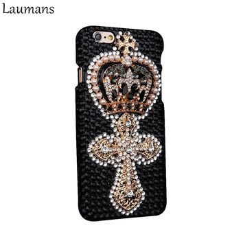 Laumans Custom Rhinestone Phone Case for Iphone 4s 5s 5C 6 6s Plus Retro Crown Pearls Skins Cover for 7 plus 8 plus Diamond case