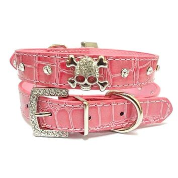 PU Leather Dog Collar Rhinestone Puppy Buckle Puppy Pet Collars Perro Led Small Dog Collars With Skull Pet Accessories 4 Colors