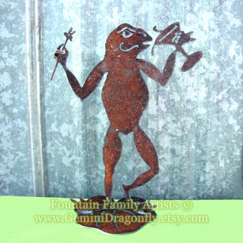 Rusty Frog With Martini Garden Art Recycled Metal