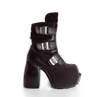 90's Cyber Goth Luichiny Avant Garde Leather Buckle Industrial Chunky Mega Platform Boots // 7.5